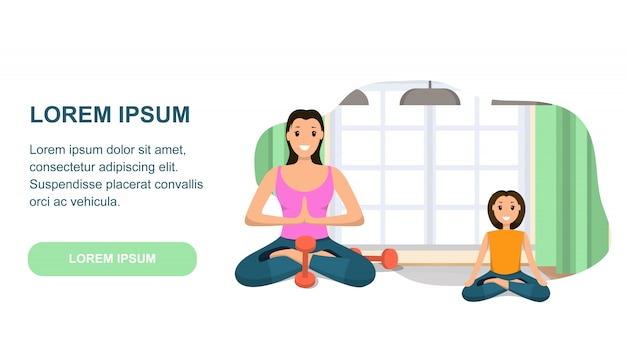 Mother and daughter involved sport engaged in yoga Premium Vector