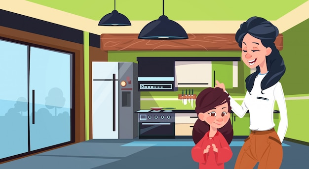 Mother and daughter in modern kitchen over fridge and stove background Premium Vector