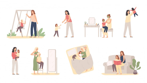 Mother and daughter. motherhood love, daughters raising and little girl with mom vector illustration Premium Vector