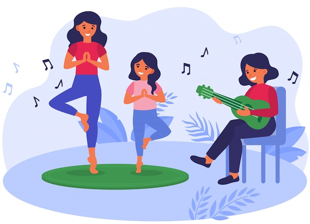 Mother and daughter practicing yoga to acoustic music Free Vector