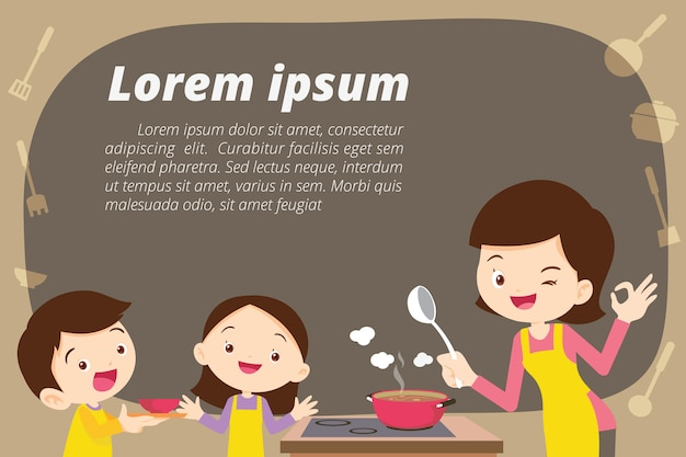 Mother daughter and son cooking Premium Vector