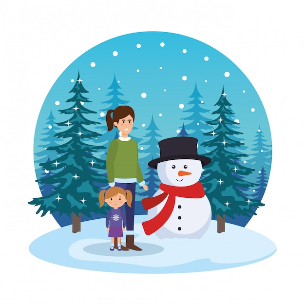 Mother and daughter with snowman in snowscape Premium Vector