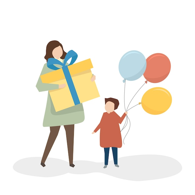 Mother and daughter with Free Vector