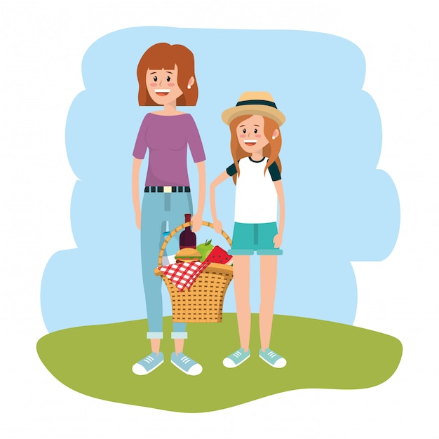 Mother and daughter Premium Vector