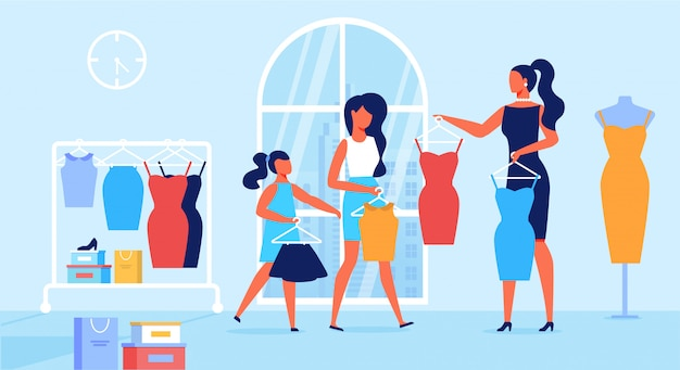 Mother and daughters shopping vector illustration Premium Vector