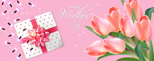 Mother day card with tulips bouquet Premium Vector