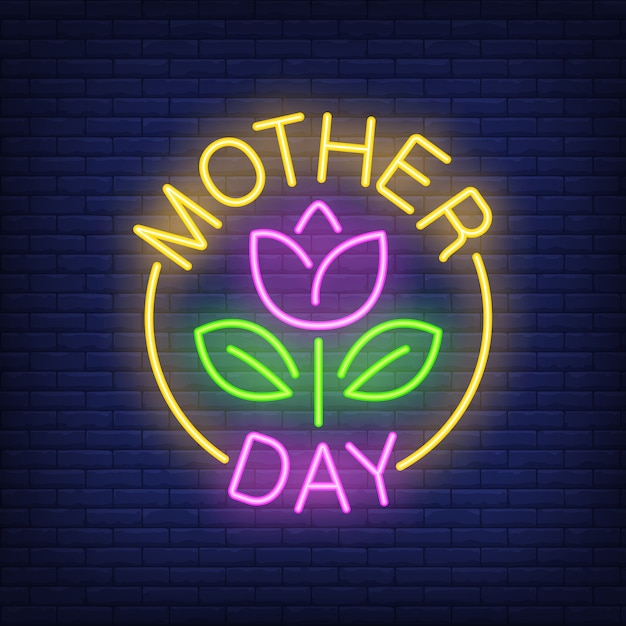 Mother day neon sign. Flower with leaves in\ bright yellow round.