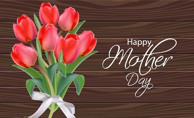 Mother day tulip flowers bouquet Premium Vector