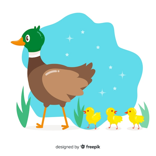 Mother duck leading her ducklings Free Vector