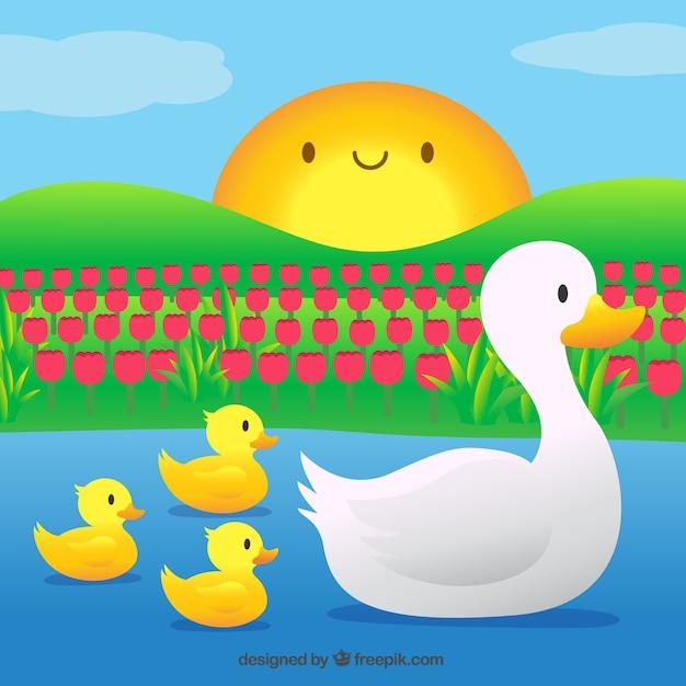 Mother duck with her little songs Premium Vector