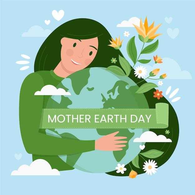 母なる地球の日と植物と惑星 無料ベクター