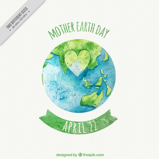 Mother earth day background with planet earth and heart Free Vector
