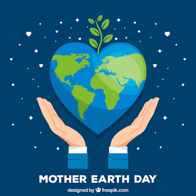 Mother earth day background with world in flat style Free Vector