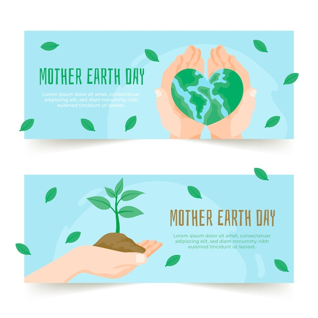 Mother earth day banner collection concept Free Vector
