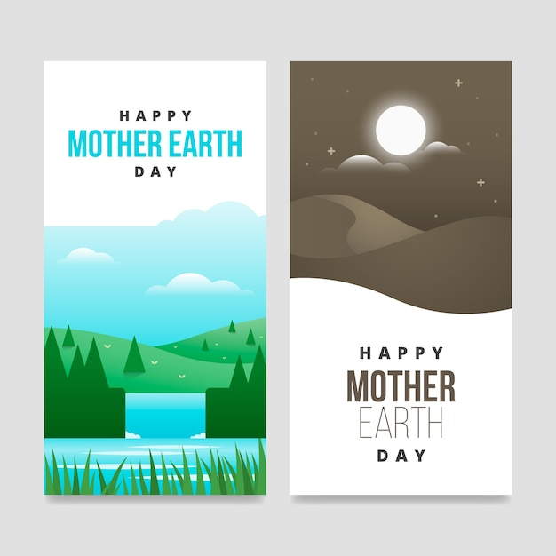 Mother earth day banner flat design collection Free Vector