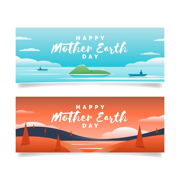 Mother earth day banner flat design pack Free Vector