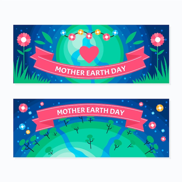 Mother earth day banner flat design set Free Vector
