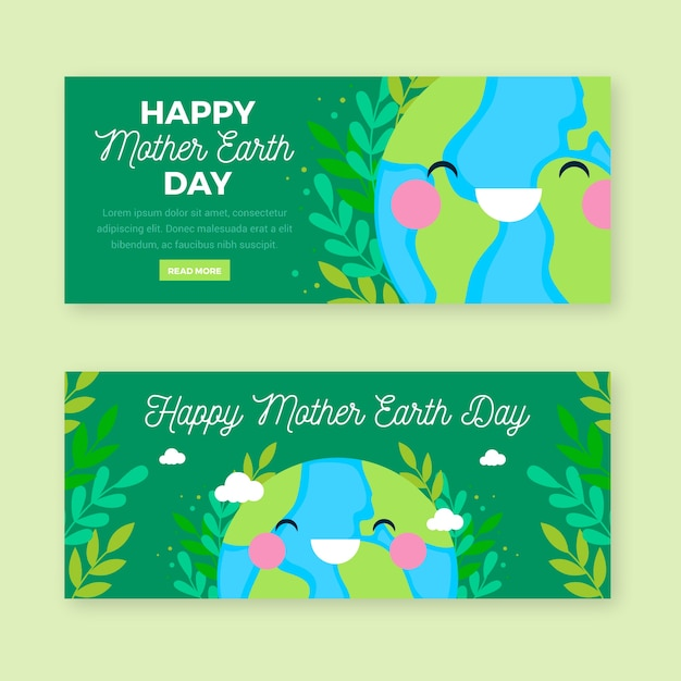 Mother earth day banner flat style Free Vector
