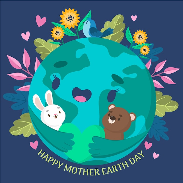 Mother earth day banner with earth hugging animals Free Vector