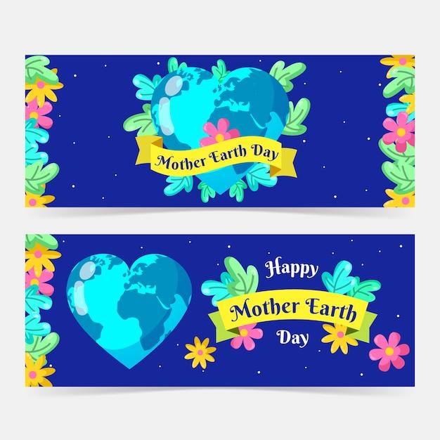 Bandiera di giorno di madre terra con il pianeta a forma di cuore Vettore gratuito