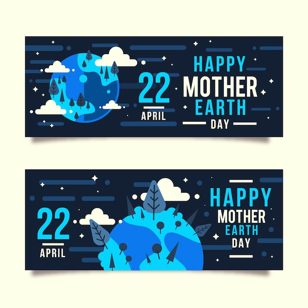Mother earth day banner with planet and greeting Free Vector