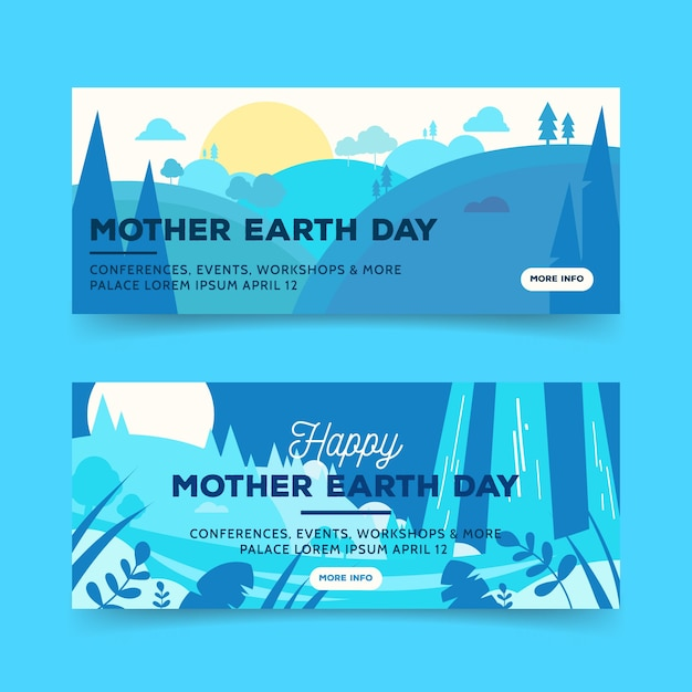 Mother earth day banner with sun and trees Free Vector