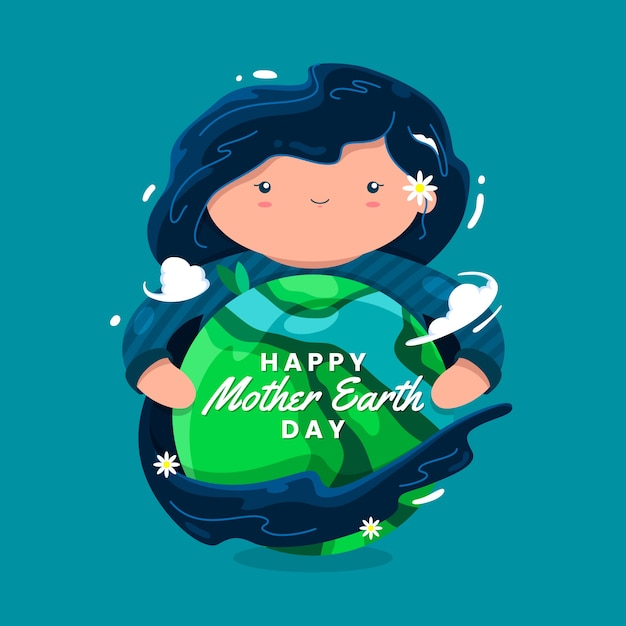 Mother earth day banner with woman hugging earth Free Vector