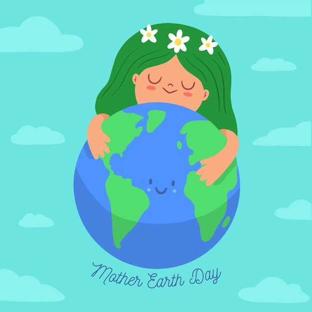 Mother earth day banner with woman hugging planet Free Vector