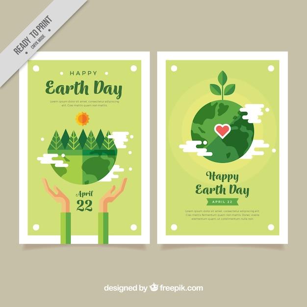 Terra di madre bandiere di giorno con vegetazione a struttura piatta Vettore gratuito