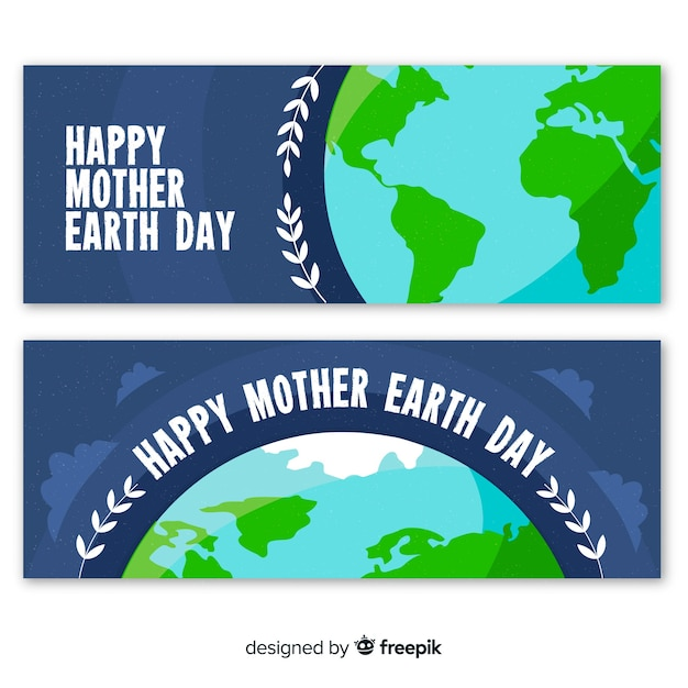 Mother earth day banners Vector | Free Download