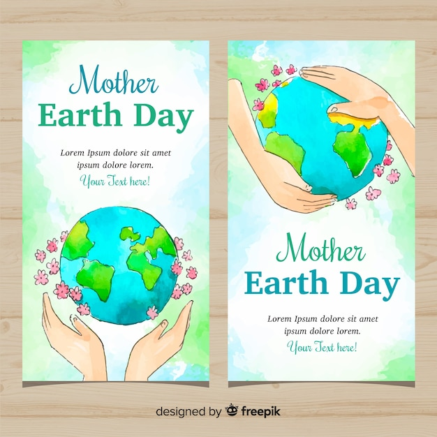 Mother earth day banners Free Vector