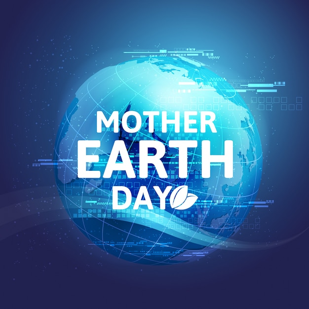 Mother earth day concept with globe and green. world environment day. Premium Vector