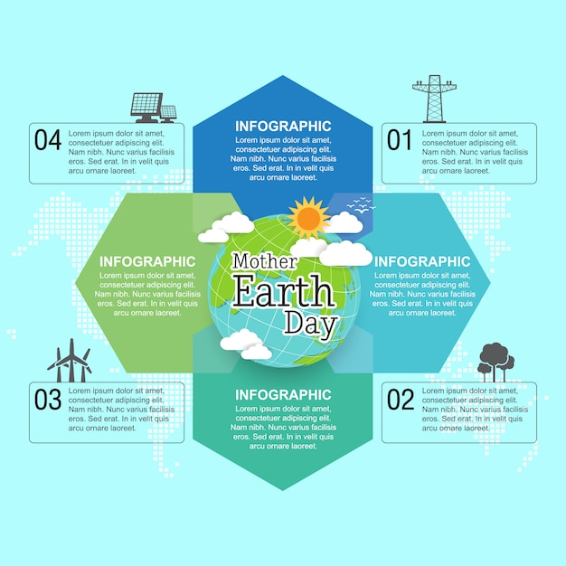 Mother earth day concept with globe and green Premium Vector