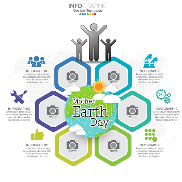 Mother earth day concept with globe and green. Premium Vector