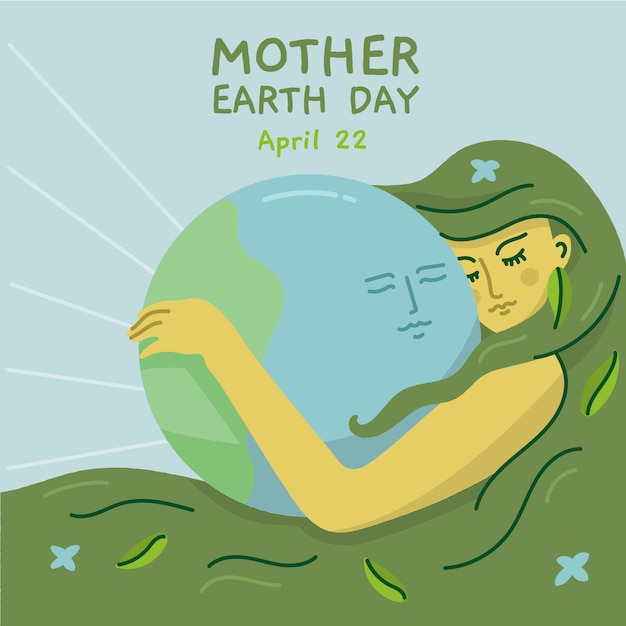 Mother earth day event with planet Free Vector