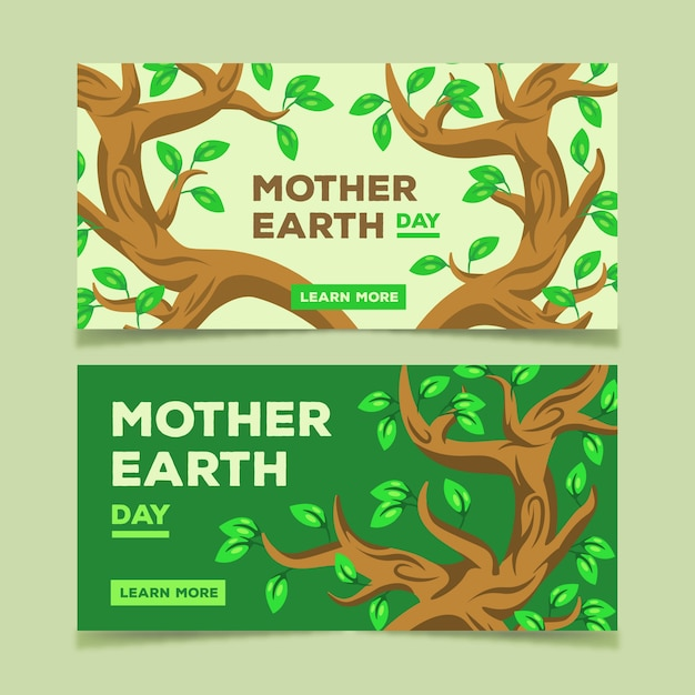Mother earth day flat designbanner pack Free Vector