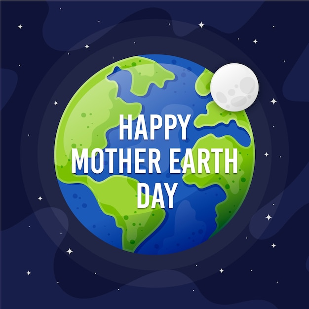 Mother earth day flat design style wallpaper Free Vector