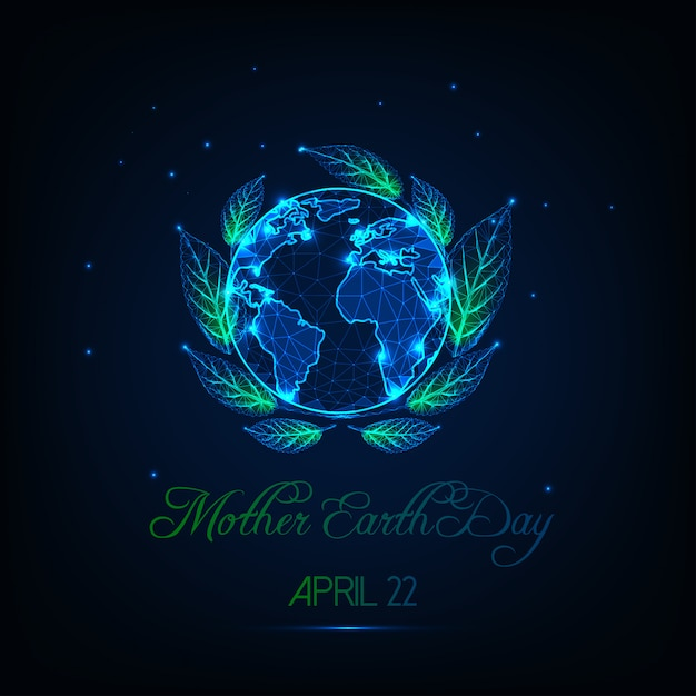 Mother earth day greeting card with glow low poly globe map Premium Vector