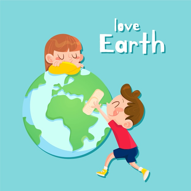 Mother earth day hand drawn background Free Vector