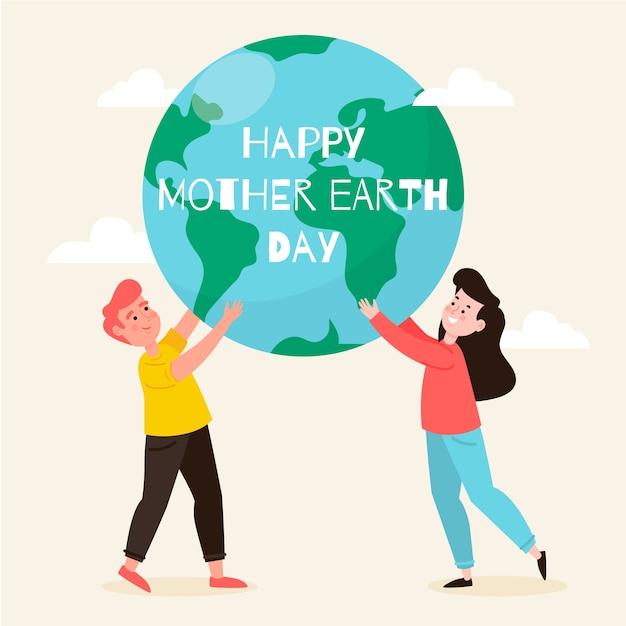 フラットなデザインで母なる地球の日 無料ベクター