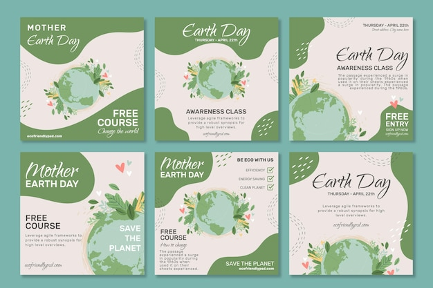 母なる地球デーのinstagramの投稿コレクション 無料ベクター
