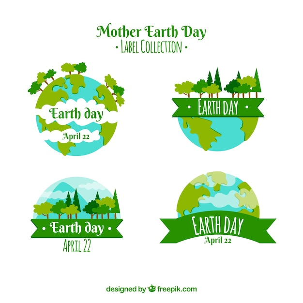 Mother earth day labels collection with world Free Vector
