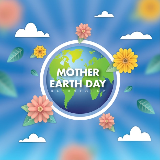 Mother earth day sun and shine Premium Vector