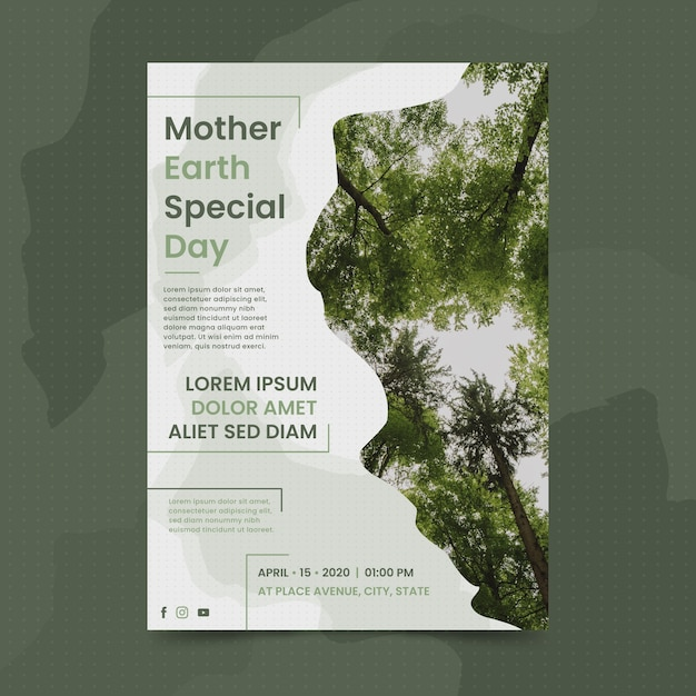Mother earth day template Free Vector