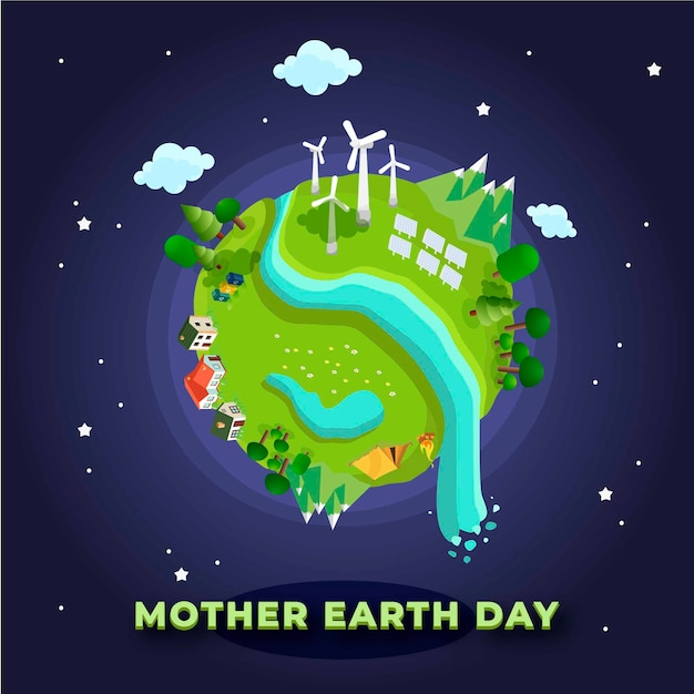 Mother earth day with civilization and villages Free Vector
