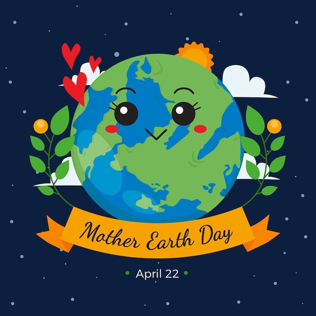 Mother earth day with cute planet and plants Free Vector