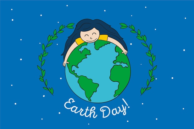 Mother earth day with girl hugging the earth Free Vector