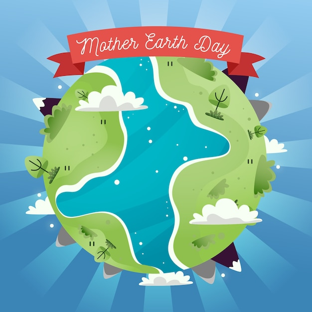 緑の土地と川の母なる地球の日 無料ベクター