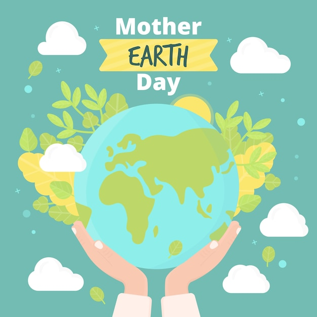 Mother earth day with leaves and clouds Free Vector