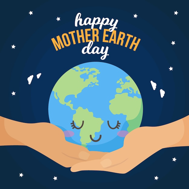 Mother earth day with sleepy planet Free Vector